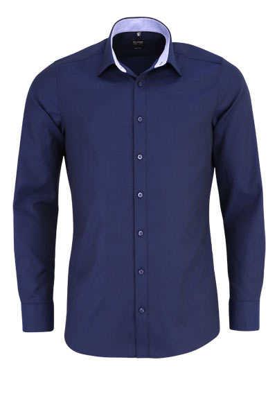OLYMP Level Five body fit Hemd Langarm Struktur navy - Hemden Meister