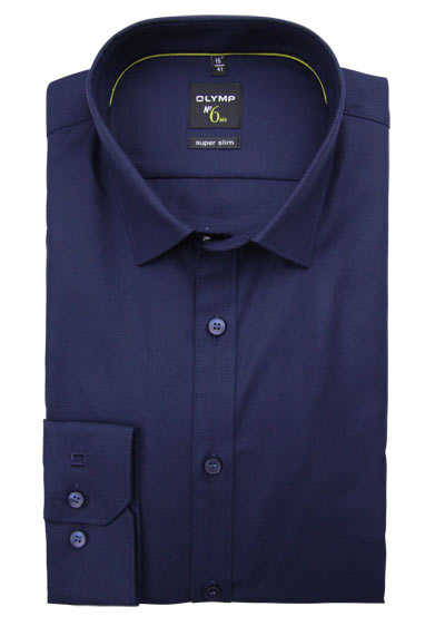 OLYMP No. Six super slim Hemd Langarm New Kent Kragen Struktur navy