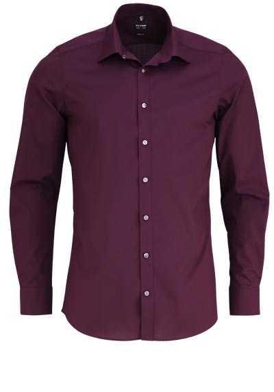 OLYMP Level Five body fit Hemd Langarm New Kent Stretch weinrot - Hemden Meister