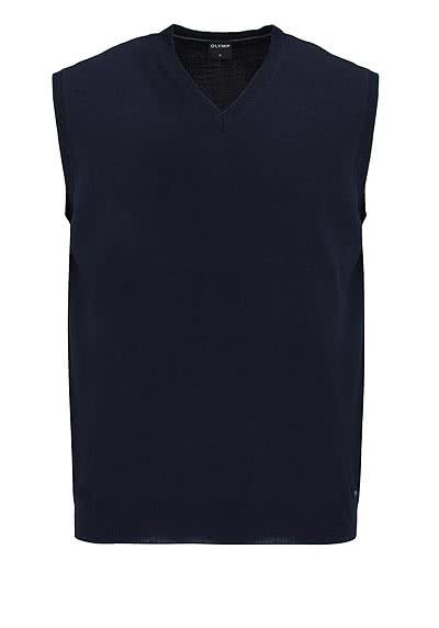OLYMP Strick Pullunder V-Ausschnitt extrafeine Merinowolle nachtblau - Hemden Meister