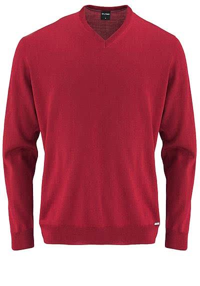 OLYMP Strick Pullover V-Ausschnitt extrafeine Merinowolle mittelrot - Hemden Meister