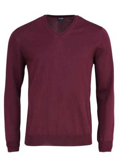 OLYMP Strick Pullover V-Ausschnitt extrafeine Merinowolle weinrot - Hemden Meister