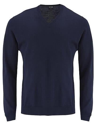OLYMP Strick Pullover V-Ausschnitt extrafeine Merinowolle nachtblau - Hemden Meister