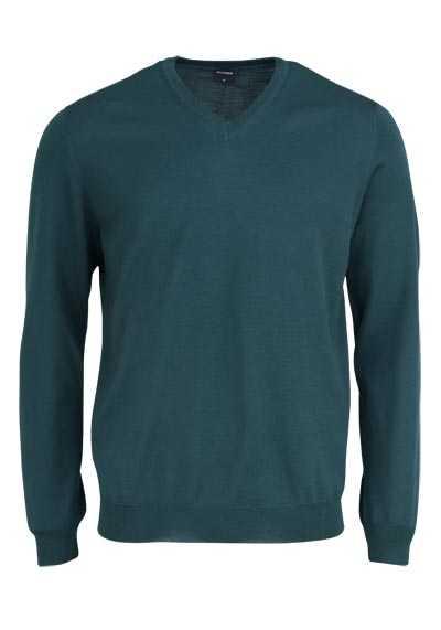 OLYMP Strick Pullover V-Ausschnitt extrafeine Merinowolle dunkelgrün - Hemden Meister
