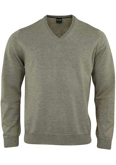 OLYMP Strick Pullover V-Ausschnitt extrafeine Merinowolle beige - Hemden Meister