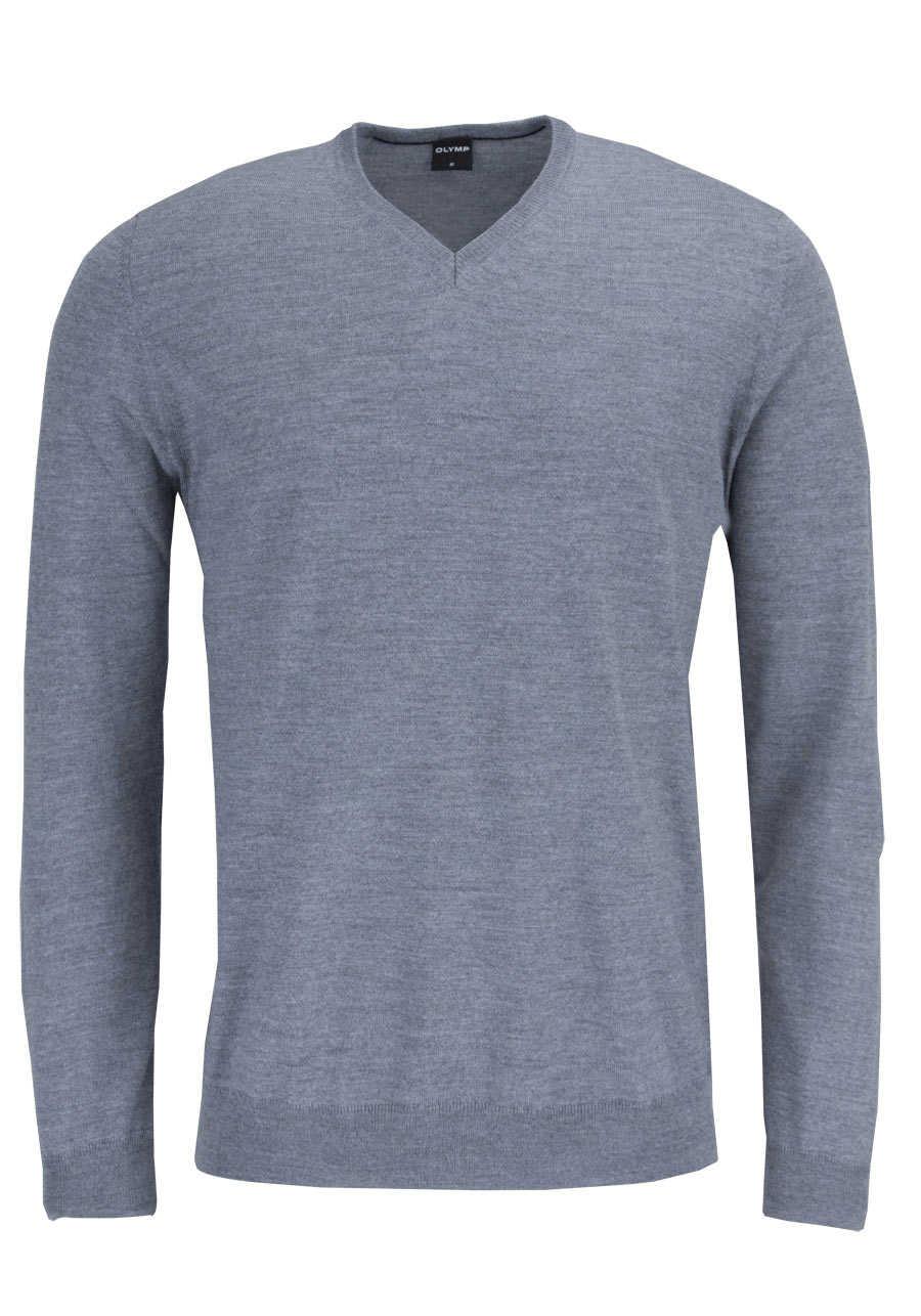 OLYMP Strick Pullover V-Ausschnitt extrafeine Merinowolle schwarzbraun - Hemden Meister