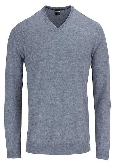OLYMP Strick Pullover V-Ausschnitt extrafeine Merinowolle hellgrau - Hemden Meister