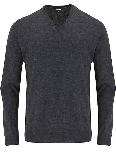 OLYMP Strick Pullover V-Ausschnitt extrafeine Merinowolle anthrazit - Hemden Meister
