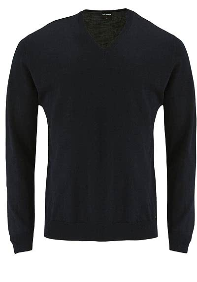 OLYMP Strick Pullover V-Ausschnitt extrafeine Merinowolle schwarz - Hemden Meister