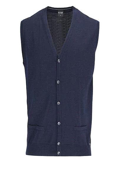 OLYMP Strickweste geknöpfter V-Ausschnitt Merinowolle nachtblau - Hemden Meister