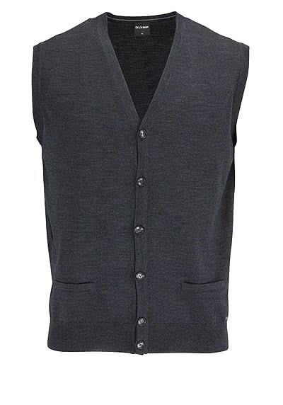 OLYMP Strickweste geknöpfter V-Ausschnitt Merinowolle anthrazit - Hemden Meister