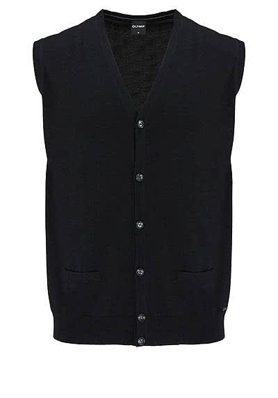OLYMP Strickweste geknöpfter V-Ausschnitt Merinowolle schwarz - Hemden Meister