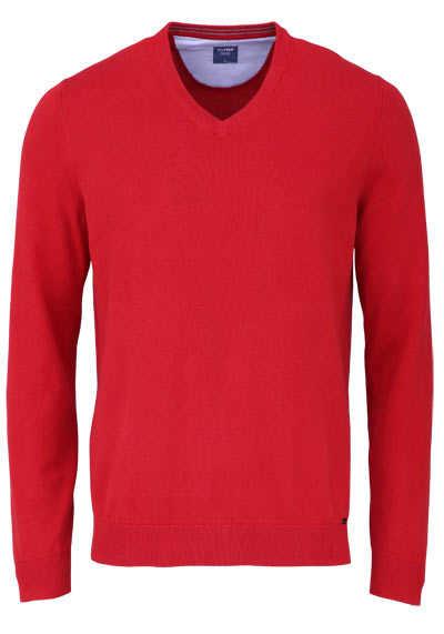 OLYMP Strick Pullover V-Ausschnitt extrafeine Baumwolle mittelrot - Hemden Meister