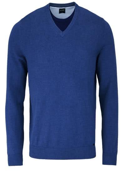 OLYMP Strick Pullover V-Ausschnitt extrafeine Baumwolle dunkelblau - Hemden Meister