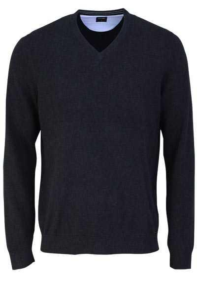 OLYMP Strick Pullover V-Ausschnitt extrafeine Baumwolle anthrazit - Hemden Meister