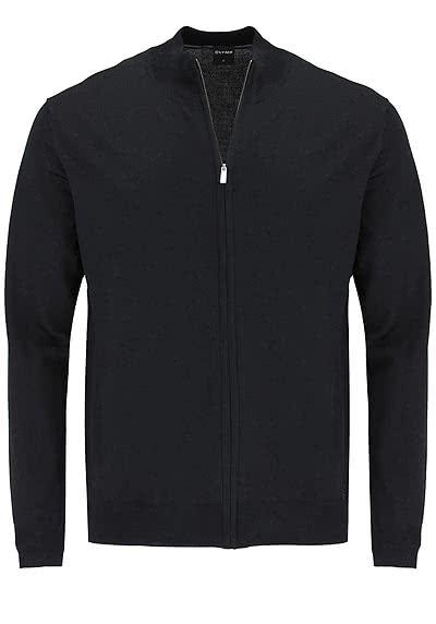OLYMP Strick Jacke Reißverschluss Merinowolle schwarz - Hemden Meister