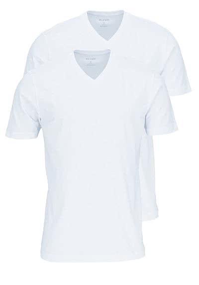 OLYMP T-Shirt Doppelpack V-Ausschnitt weiß - Hemden Meister