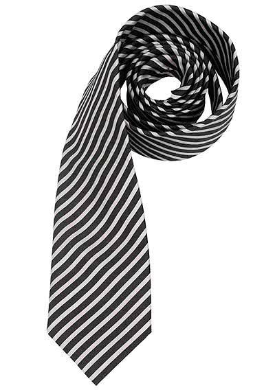 OLYMP Krawatte regular aus reiner Seide Nano-Effekt Streifen schwarz - Hemden Meister