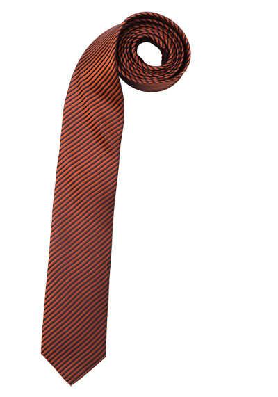OLYMP Krawatte slim aus Seide mit Nano-Effekt Streifen orange - Hemden Meister