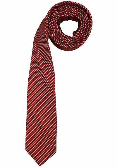 OLYMP Krawatte Slim aus reiner Seide mit Nano-Effekt Streifen rot - Hemden Meister