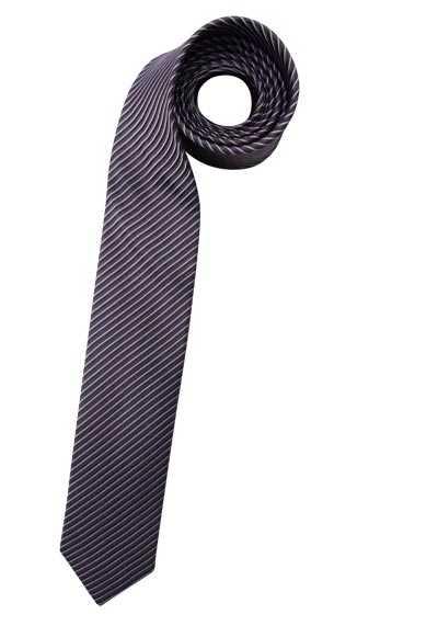 OLYMP Krawatte slim aus Seide mit Nano-Effekt Streifen braun - Hemden Meister