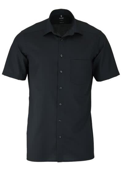 OLYMP Luxor modern fit Hemd Halbarm New Kent Kragern Popeline schwarz - Hemden Meister