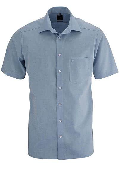 OLYMP Luxor modern fit Hemd Halbarm Chambray hellblau - Hemden Meister