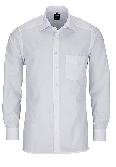 OLYMP Luxor modern fit Hemd Langarm mit New Kent Kragen Popeline weiß