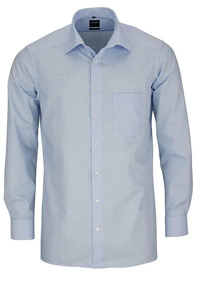 OLYMP Luxor modern fit Hemd Langarm New Kent Kragen Popeline hellblau - Hemden Meister