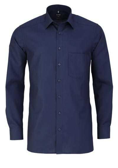 OLYMP Luxor modern fit Hemd Langarm mit New Kent Kragen Popeline nachtblau - Hemden Meister