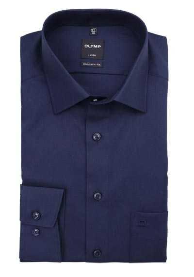 OLYMP Luxor modern fit Hemd Langarm mit New Kent Kragen Popeline nachtblau