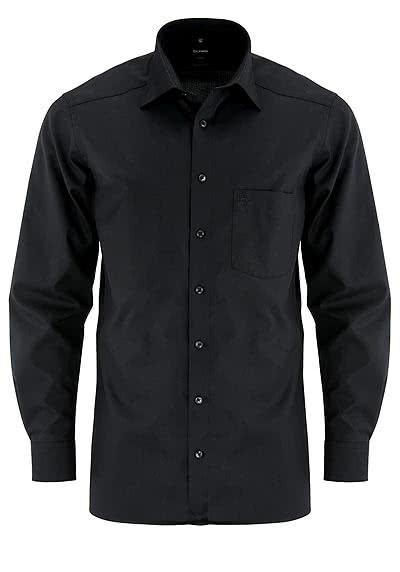 OLYMP Luxor modern fit Hemd Langarm New Kent Kragen Popeline schwarz - Hemden Meister
