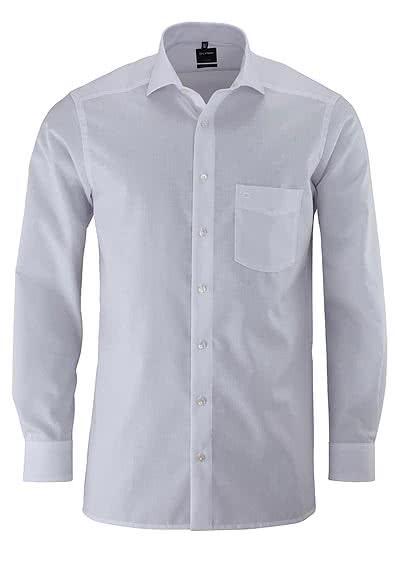 OLYMP Luxor modern fit Hemd Haifisch Kragen Langarm Popeline weiß - Hemden Meister