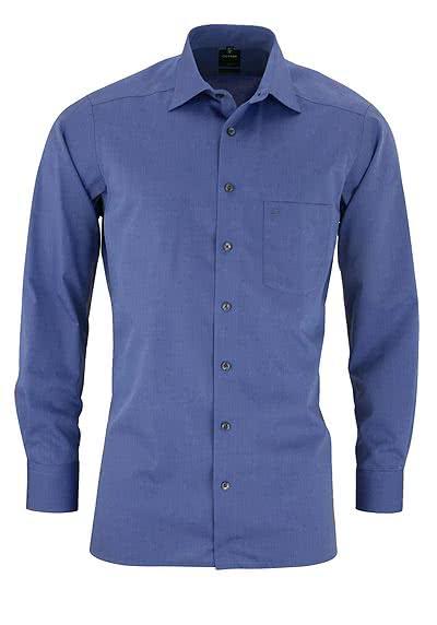 OLYMP Luxor modern fit Hemd Langarm New Kent Kragen Chambray blau - Hemden Meister