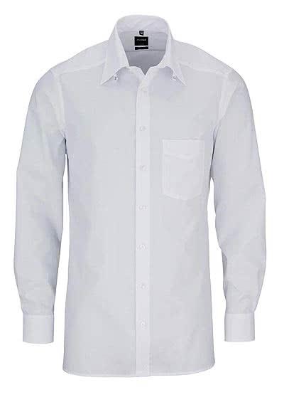 OLYMP Luxor modern fit Hemd Tab Kragen Langarm Popeline weiß - Hemden Meister