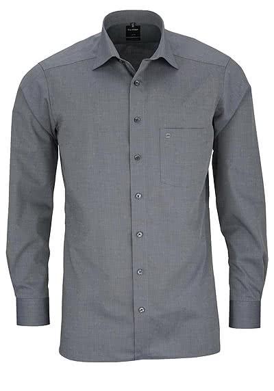 OLYMP Luxor modern fit Hemd extra langer Arm Fil a Fil grau - Hemden Meister