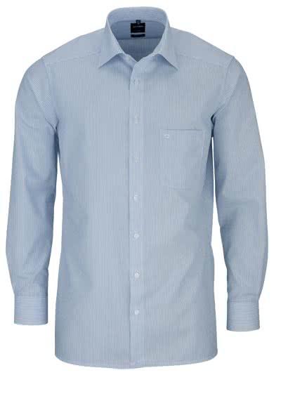 OLYMP Luxor modern fit Hemd extra langer Arm Streifen hellblau - Hemden Meister