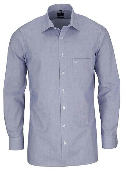OLYMP Luxor modern fit Hemd Langarm Mille Raye Streifen blau - Hemden Meister