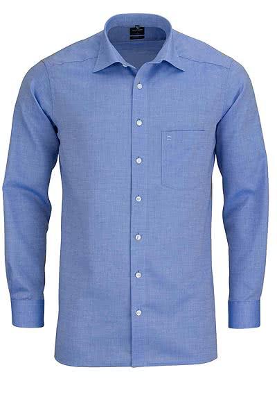 OLYMP Luxor modern Fit Hemd Langarm New Kent Kragen Natte mittelblau - Hemden Meister