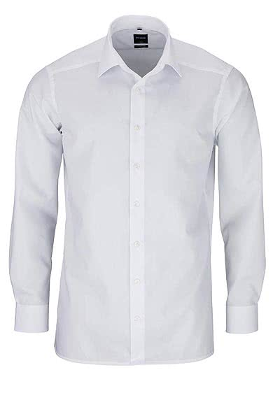 OLYMP Luxor modern fit Hemd Long Kent Kragen Langarm Popeline weiß - Hemden Meister