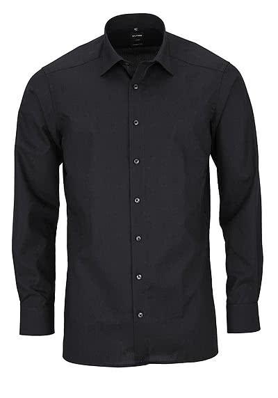 OLYMP Luxor modern fit Hemd Langarm Long Kent Kragen Popeline schwarz - Hemden Meister