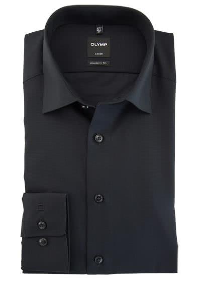 OLYMP Luxor modern fit Hemd Langarm Long Kent Kragen Popeline schwarz