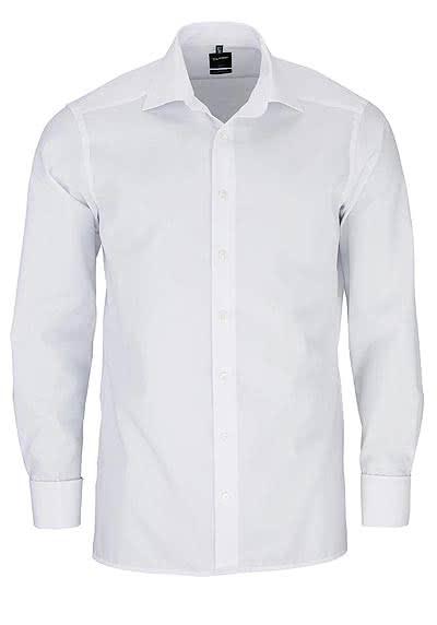OLYMP Luxor modern fit Hemd Langarm mit New Kent Kragen Chambray weiß - Hemden Meister