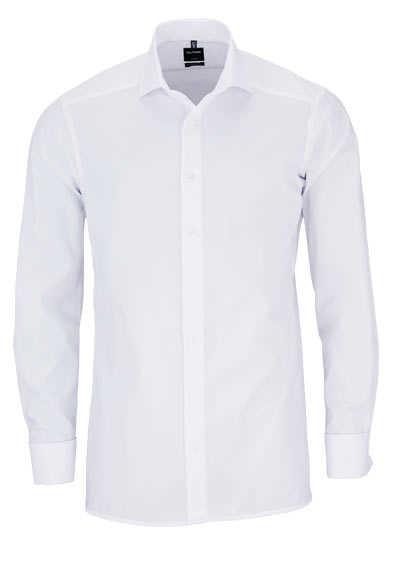 OLYMP Luxor modern fit Hemd Langarm mit Haifisch Kragen Chambray weiß - Hemden Meister