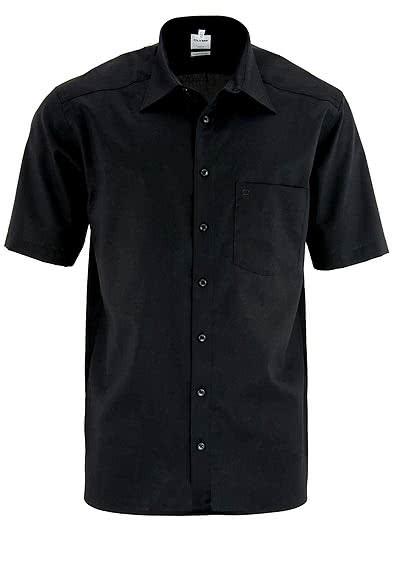 OLYMP Luxor comfort fit Hemd Halbarm Popeline schwarz - Hemden Meister