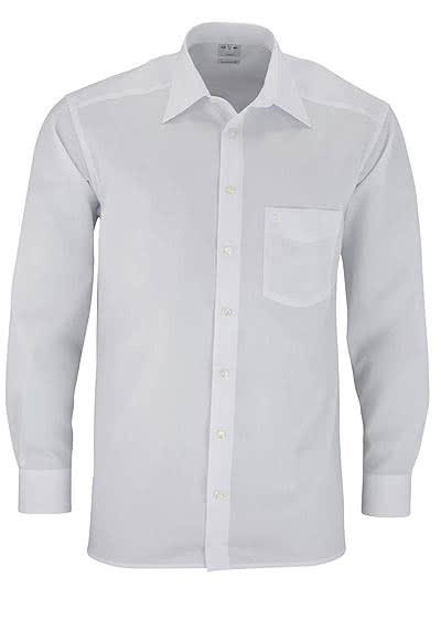 OLYMP Luxor comfort fit Hemd Langarm Basic Kent Popeline weiß - Hemden Meister