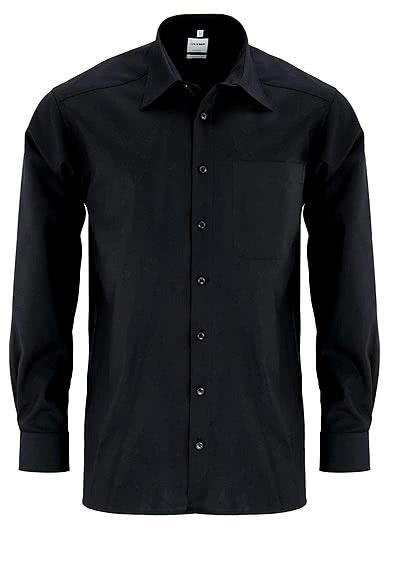 OLYMP Luxor comfort fit Hemd Langarm Basic Kent Popeline schwarz - Hemden Meister