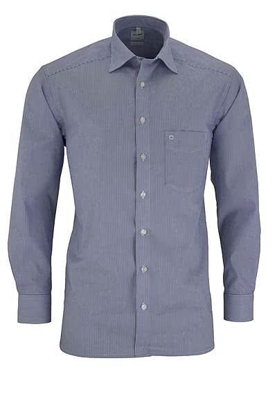 OLYMP Luxor comfort fit Hemd Langarm New Kent Kragen Streifen mittblau - Hemden Meister