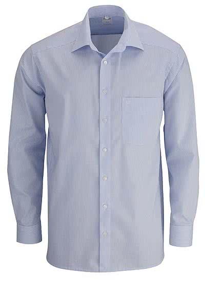OLYMP Luxor comfort fit Hemd Langarm New Kent Kragen Streifen hellblau - Hemden Meister
