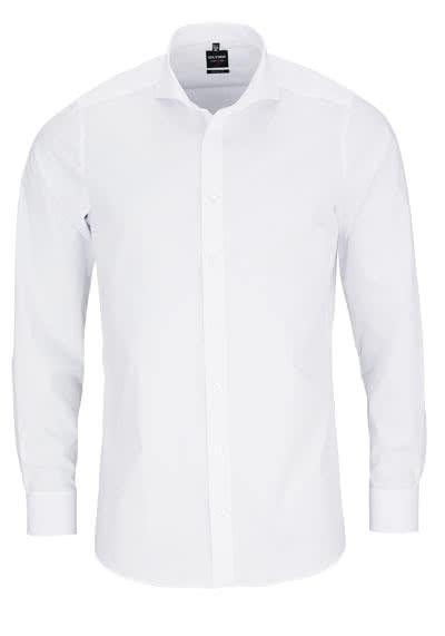 OLYMP Level Five body fit Hemd Langarm Haifisch Kragen Stretch weiß - Hemden Meister